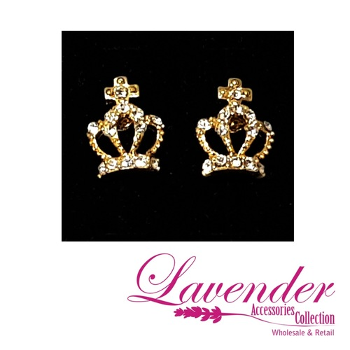 Gold Crown Earring
