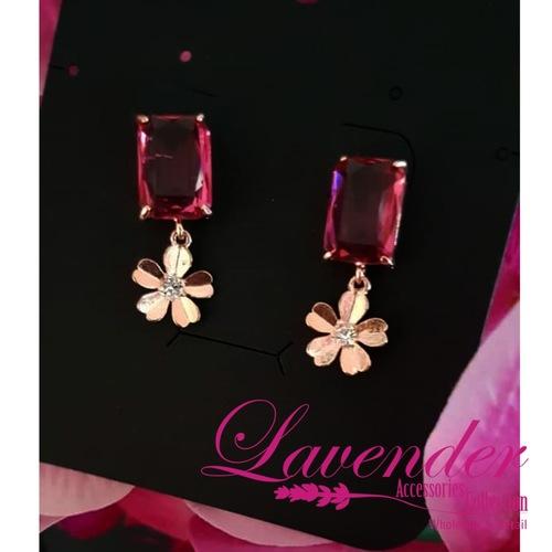 Ruby Gold Flower Earring