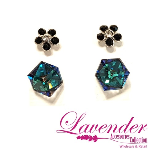 Blue Diamond With Flower Earring
