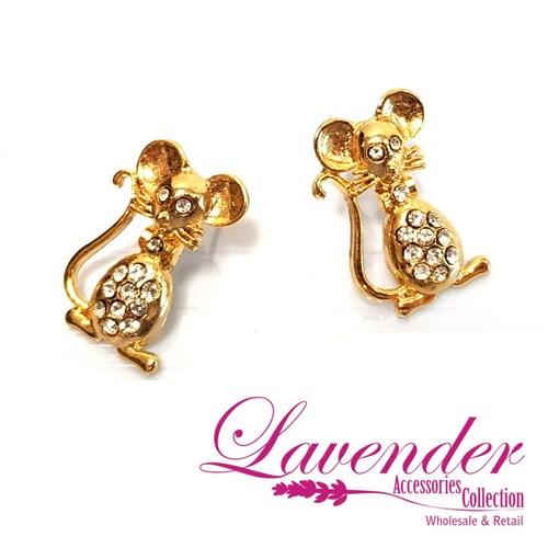 Golden Mouse Earring