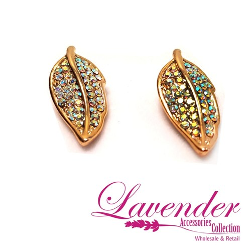 Golden Diamond Leave Earring