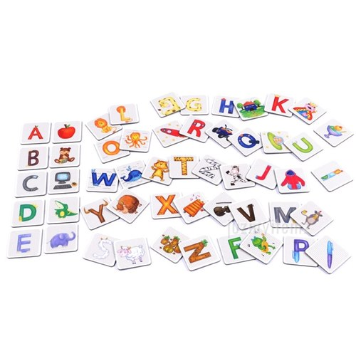 Preschooler Educational Montessori Mideer 52pcs Alphabet Paired Flash Card Cognitive Game