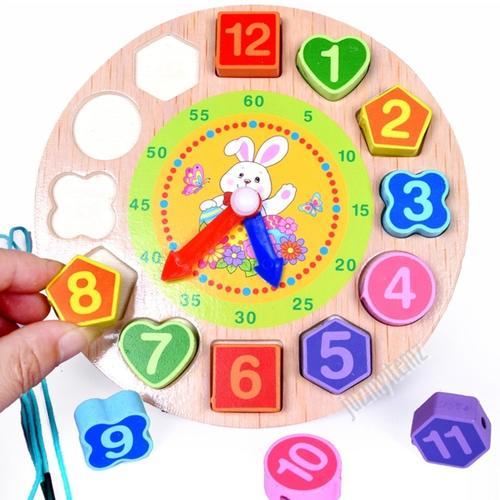 Montessori Educational Digital Geometry Wooden Clock