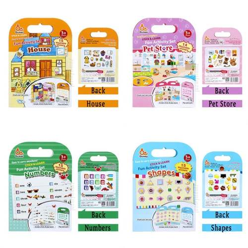 Quway Stick and Learn Fun Activity Set - Reuseable Washable Stickers