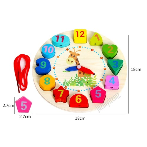 Montessori Educational Digital Geometry Wooden Clock - Giraffe