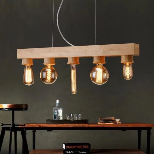 Wood Block Pendant Light Set (Set of 5)