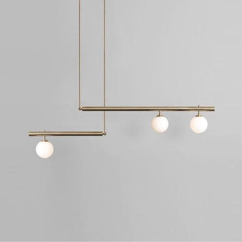 Gold Frame with 3 Frosted Globe Pendant Light