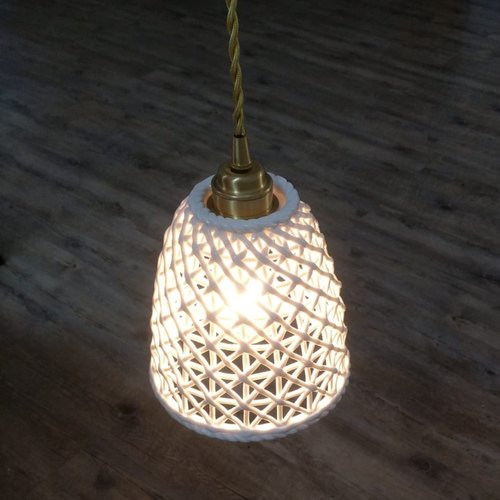 Ceramic with Gold Holder Pendant Light