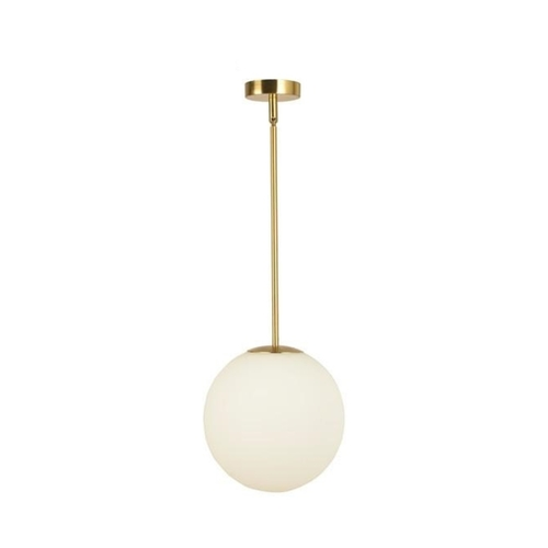 Frosted Globe with Gold Rod Pendant Light
