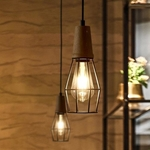 Slim Cage with Wood Top Pendant Light