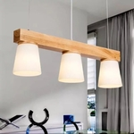 Wood Block Pendant Light Set (Set of 3)