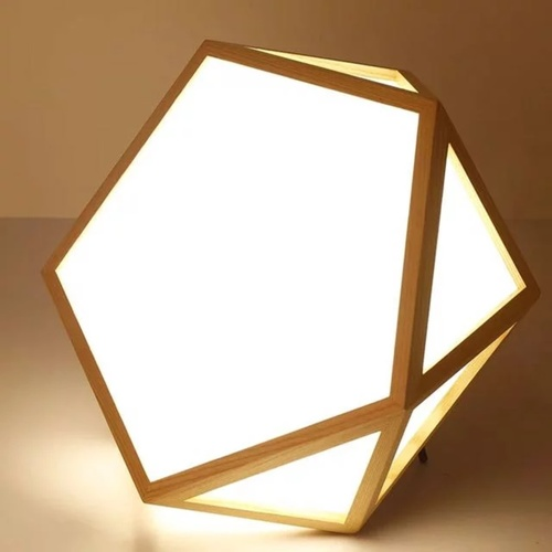 Wooden Pentagon with Side Diffuser Ceiling Light