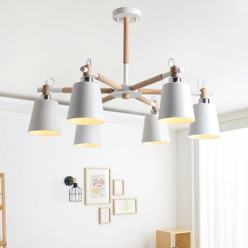 Wooden Chandelier with Shade
