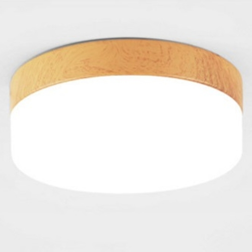 Wooden Round Ceiling Light (Glass)