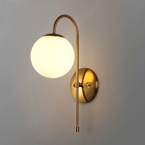 White Globe with Curved Frame Wall Light