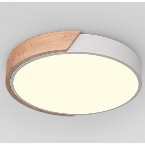 Half Wood Round Ceiling Light