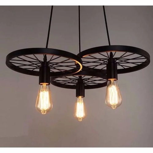 Industrial Triple Wheel Pendant Light Set
