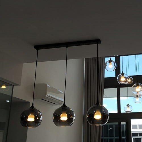 Smoke Grey Globe Pendant Light