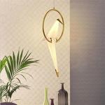 Bird on Gold Ring Pendant Light