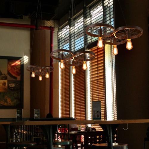 Industrial Triple Wheel Pendant Light Set