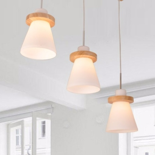 Wood Ring Cone Pendant Light Set (Set of 3)