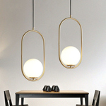 White Globe on Gold Oval Ring Pendant Light