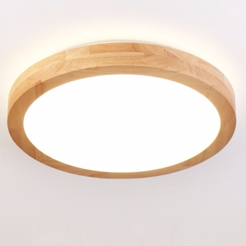 Wooden Round Ceiling Light (Acrylic)