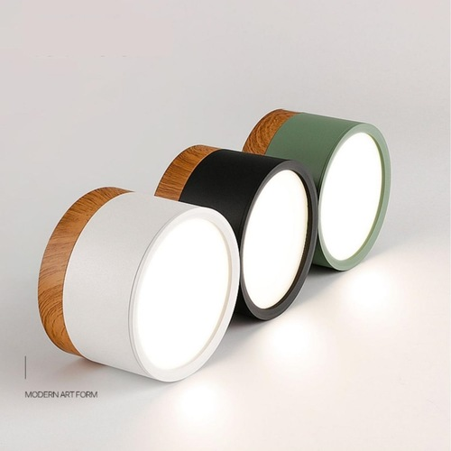 Round with Wood Ceiling Mounted Spotlight