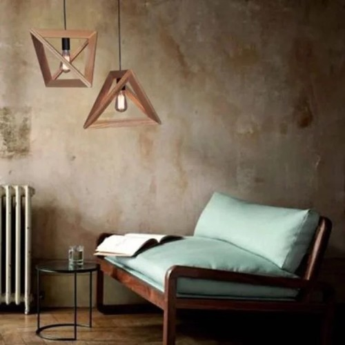 Wood Triangle Pendant Light