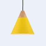 Cone with Wood Top Pendant Light