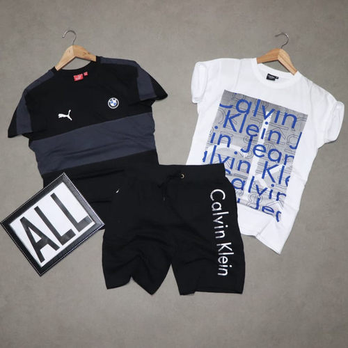 Mens T-shirt ( 2 No.s ) & Shorts Combo