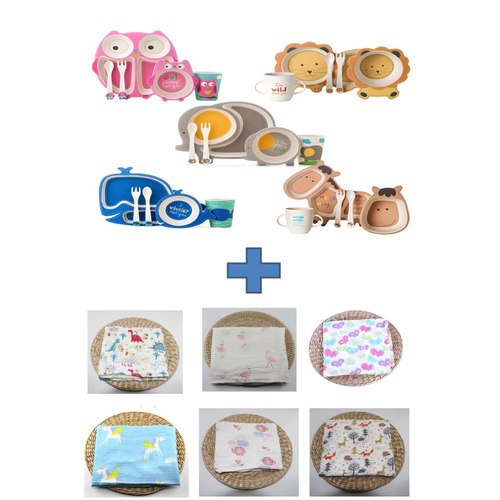 One Tableware Set and One Swaddle FREE a gift box for Swaddle