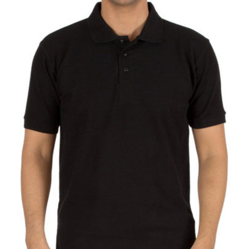 Black Polo neck Half sleeves tee