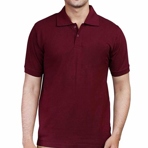 Maroon Polo neck half sleeves tee