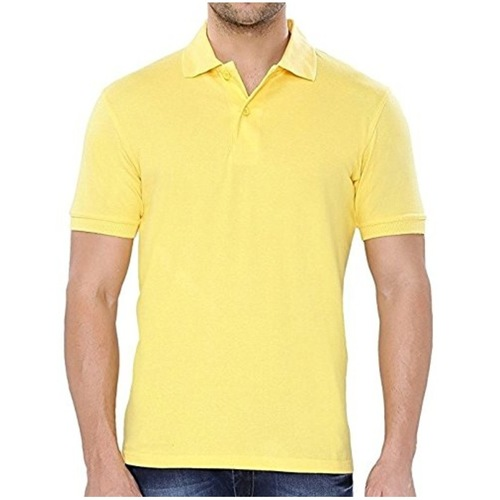 Yellow Polo neck half sleeves tee