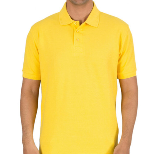 Sunset yellow polo neck half sleeves T-shirt