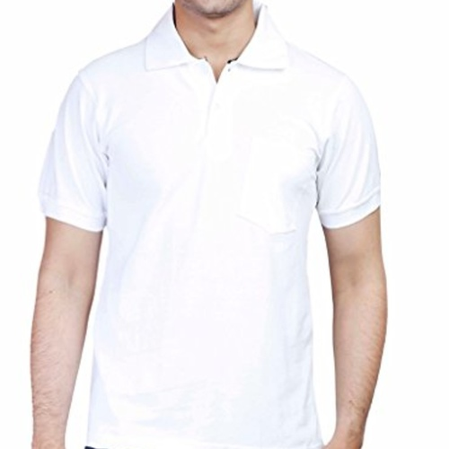 White Polo neck half sleeves tee