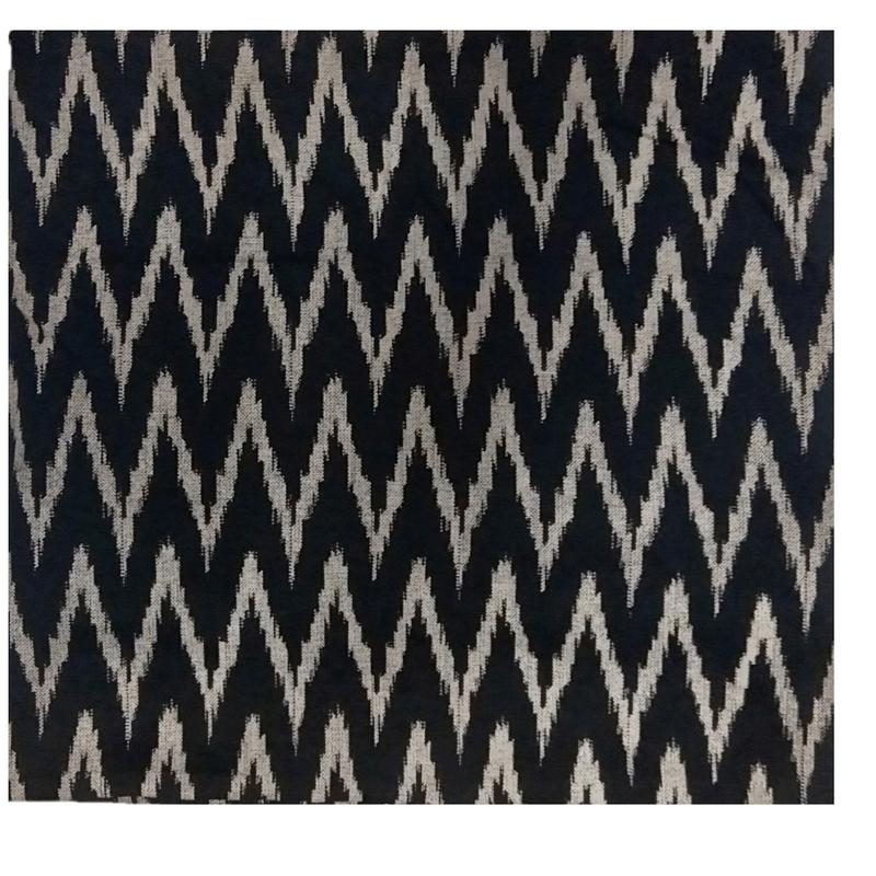 Cotton Kalamkari Handblock Saree BlouseKurti Fabric 100 cms - Ikkat Print - Black Colour
