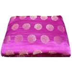 Rani Pink and Golden Floral Design Brocade Silk Fabric, Festival, (1 Meter) Gola