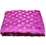 Rani Pink and Golden Floral Design Brocade Silk Fabric, Festival, (1 Meter) Butterfly Design