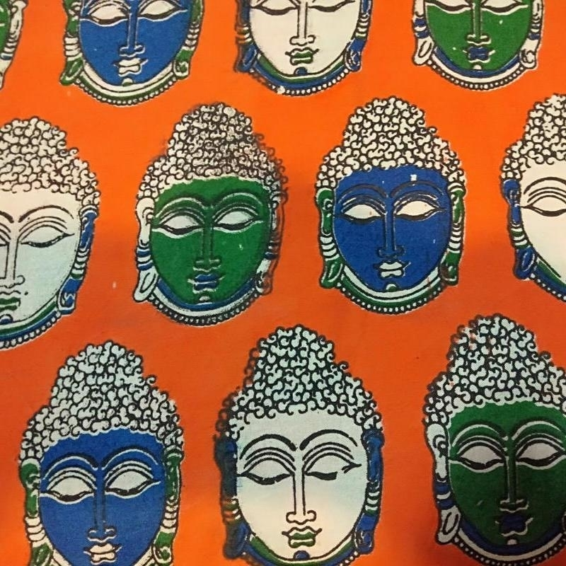 Cotton Kalamkari Handblock Saree BlouseKurti Fabric 100 cms - Budda Print - Orange Colour