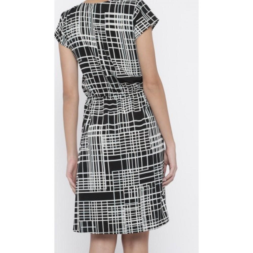 La Facon-black-printed-a-line-dress