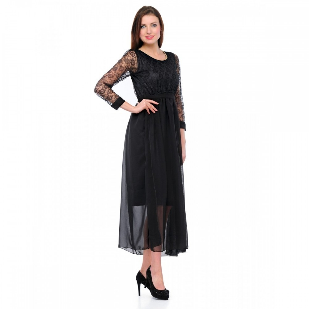 Lafacon  Regular Black Net Dress