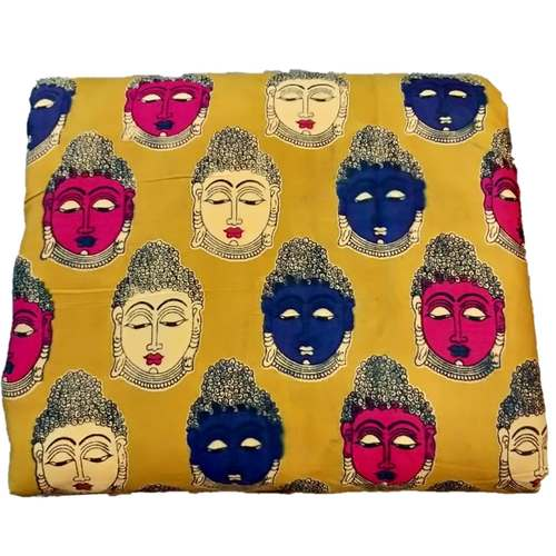 Rayon Kalamkari Handblock Saree Blouse/Kurti Fabric 100 cms - Yellow Budda Print