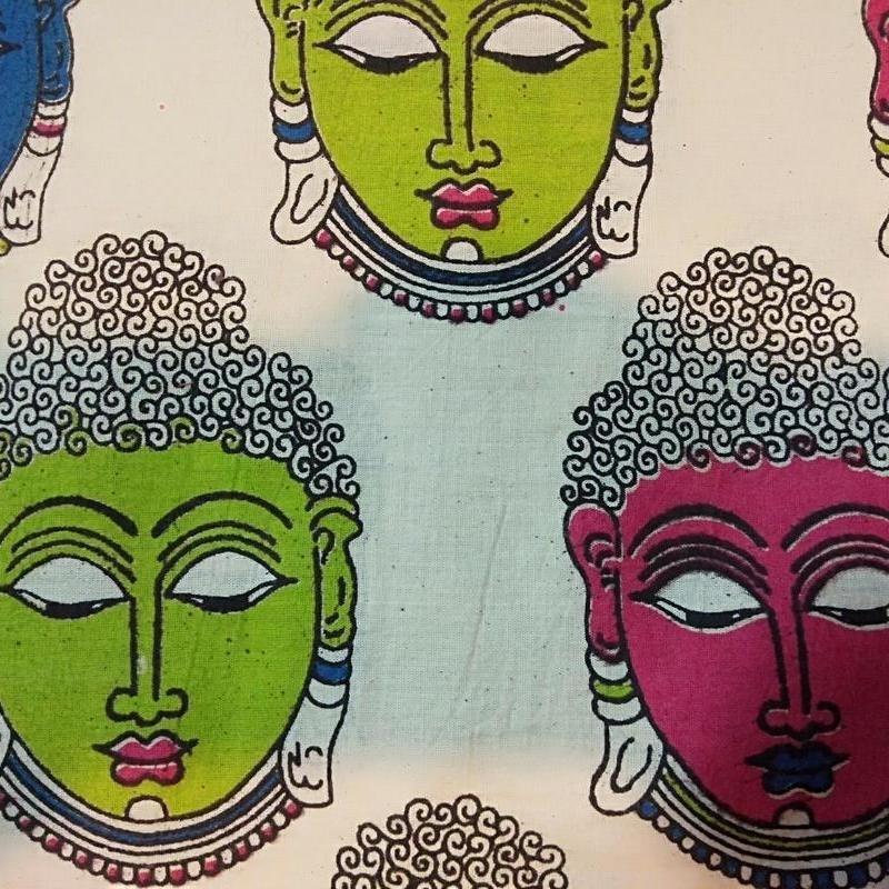 Cotton Kalamkari Handblock Saree BlouseKurti Fabric 100 cms - Budda Print - Cream Colour