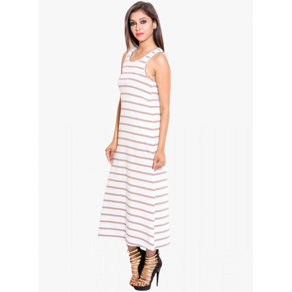Lafacon-White-Coloured-Striped-Maxi-Dress
