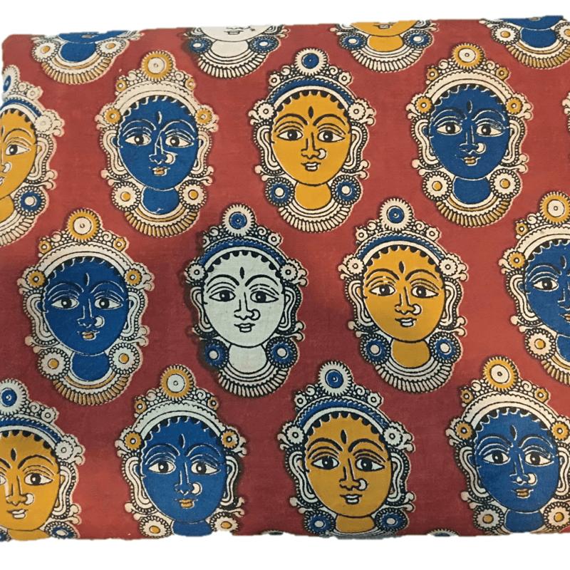 Cotton Kalamkari Handblock Saree BlouseKurti Fabric 100 cms - Dancers Print - Maroon Colour