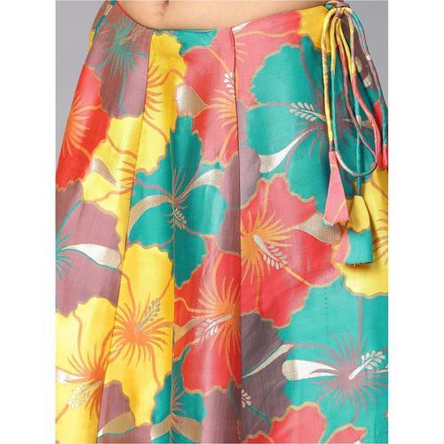 Multicolored Big Floral Jacquard Design Lehenga & Solid Blouse Set