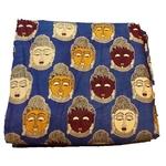 Rayon Kalamkari Handblock Saree BlouseKurti Fabric 100 cms - Blue Budda Print