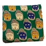 Rayon Kalamkari Handblock Saree Blouse/Kurti Fabric 100 cms - Green Budda Print